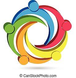 логотип, единство, люди, командная работа, 3d