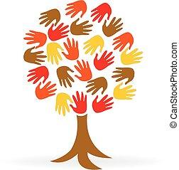 логотип, единство, руки, дерево, люди