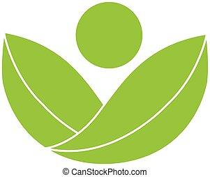 логотип, здоровье, зеленый, природа