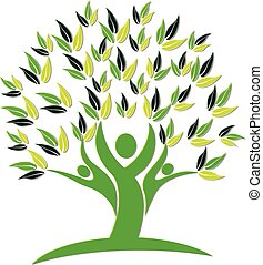 логотип, значок, дерево, люди, природа