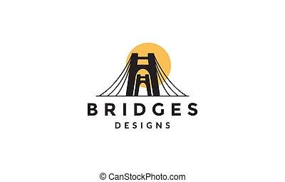 логотип, значок, современное, вектор, иллюстрация, мост, ворота, силуэт, дизайн