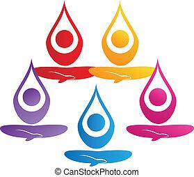 логотип, команда, вектор, йога, люди