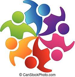логотип, командная работа, вектор, единство