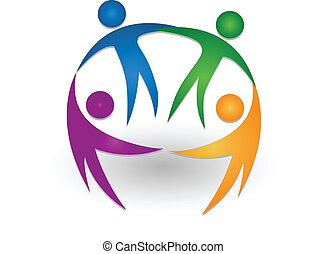 логотип, командная работа, вместе, люди