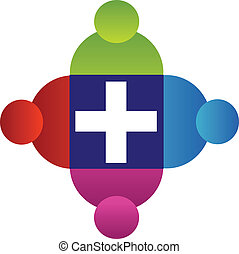 логотип, командная работа, люди, пересекать