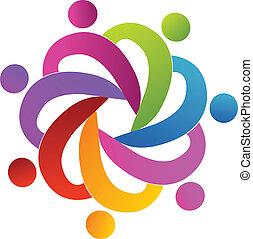 логотип, командная работа, люди, помощь