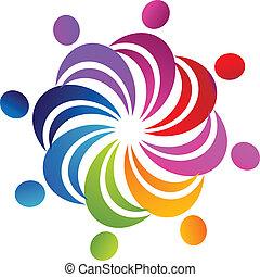 логотип, командная работа, социальное, figures
