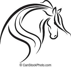 логотип, лошадь, вектор, силуэт