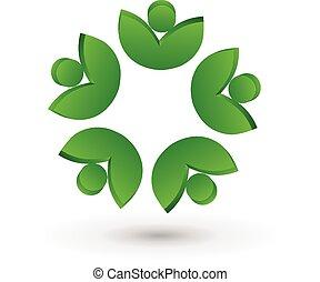 логотип, люди, здоровье, leafs, командная работа