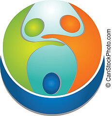 логотип, люди, командная работа, вокруг, мир