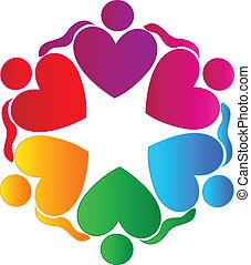 логотип, люди, командная работа, в обнимку, hearts