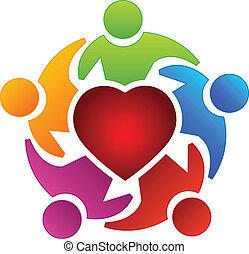 логотип, люди, командная работа, сердце