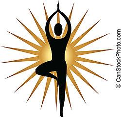 логотип, медитация, поза, йога