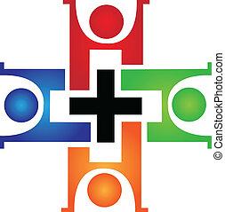 логотип, медицинская, командная работа
