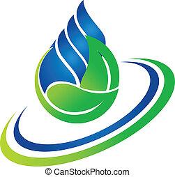 логотип, падение, зеленый, лист, воды