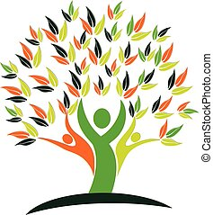 логотип, природа, здоровье, дерево, люди