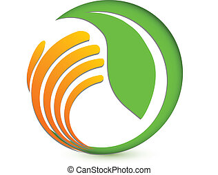 логотип, рука, экологическая, protecting