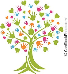 логотип, руки, дерево, hearts, люди
