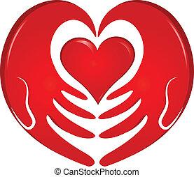 логотип, руки, держа, сердце