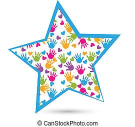 логотип, руки, звезда, children