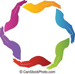 логотип, руки, командная работа, солидарность