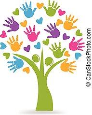 логотип, руки, hearts, дерево