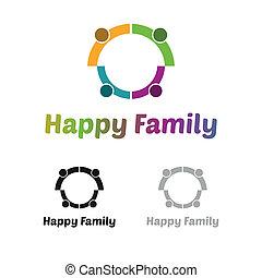 логотип, семья, счастливый