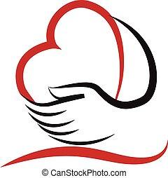 логотип, сердце, вектор, люблю, руки