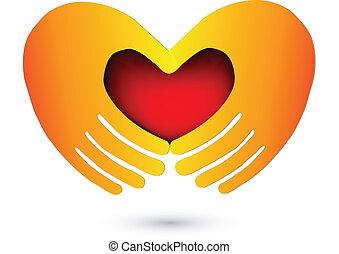 логотип, сердце, красный, руки