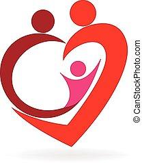 логотип, сердце, люблю, семья