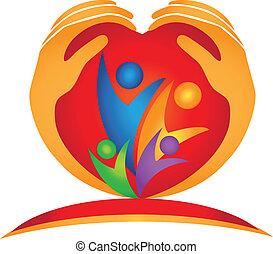 логотип, сердце, форма, семья, руки