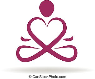 логотип, символ, люблю, йога