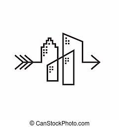 логотип, стрела, дизайн, здание