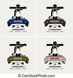 логотип, строительство, работник, design.
