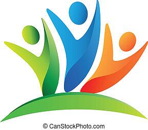 логотип, счастливый, командная работа, люди