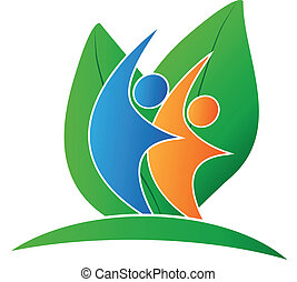 логотип, счастливый, leafs, люди