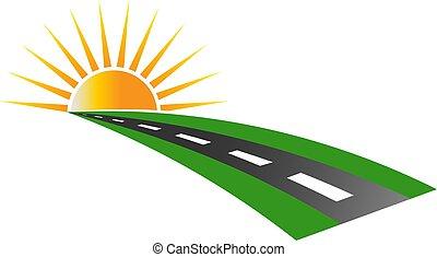 логотип, тротуар, вектор, закат солнца, дорога
