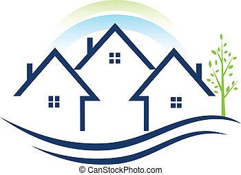 логотип, apartments, дерево, houses