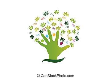 логотип, figures, люди, дерево, рука