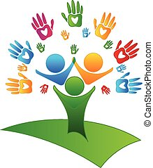 логотип, figures, hearts, дерево, руки