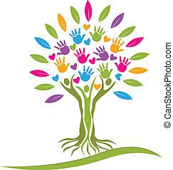 логотип, hearts, дерево, красочный, руки