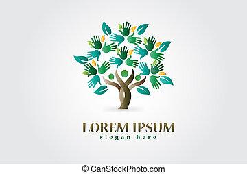 логотип, hearts, дерево, figures, руки