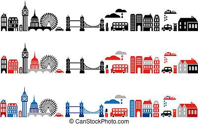 лондон, иллюстрация, город, вектор