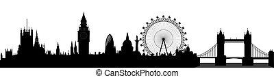 лондон, линия горизонта, вектор, -