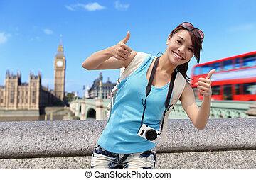 лондон, путешествовать, женщина, счастливый