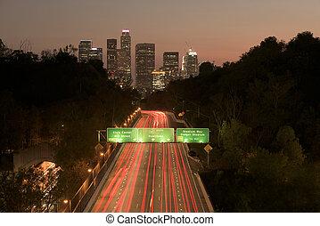 лос, закат солнца, анджелес, трафик, линия горизонта, шоссе