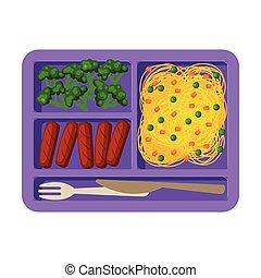 лоток, вектор, выше, посмотреть, students, брокколи, sausages, питание, kids, здоровый, заполненный, макаронные изделия, еда, квартира, иллюстрация
