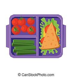 лоток, вектор, выше, посмотреть, students, cucumbers, питание, kids, здоровый, сэндвич, помидоры, заполненный, еда, квартира, иллюстрация