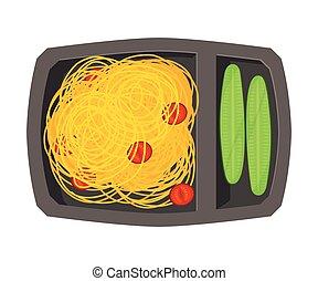 лоток, вектор, выше, посмотреть, students, cucumbers, спагетти, питание, здоровый, kids, заполненный, еда, квартира, иллюстрация