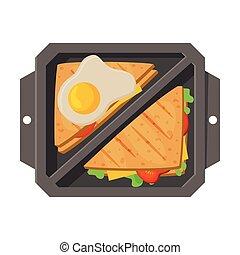 лоток, вектор, выше, посмотреть, students, sandwiches, жареные, kids, яйцо, питание, здоровый, заполненный, еда, квартира, иллюстрация